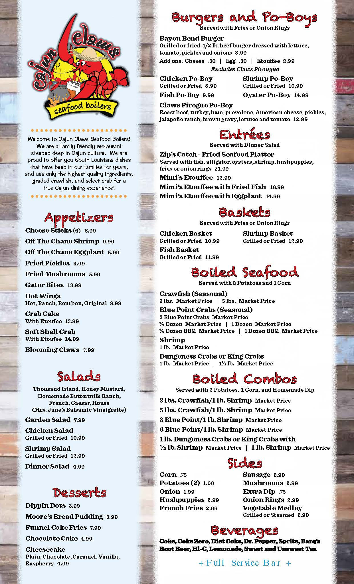 Claws Restaurant Menu